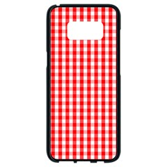 Christmas Red Velvet Large Gingham Check Plaid Pattern Samsung Galaxy S8 Black Seamless Case by PodArtist