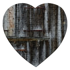 Alpine Hut Almhof Old Wood Grain Jigsaw Puzzle (heart) by BangZart