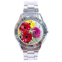 Flowers Gerbera Floral Spring Stainless Steel Analogue Watch by BangZart