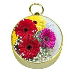 Flowers Gerbera Floral Spring Gold Compasses by BangZart