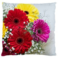 Flowers Gerbera Floral Spring Large Flano Cushion Case (two Sides) by BangZart