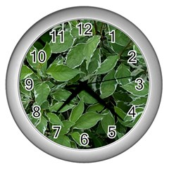 Texture Leaves Light Sun Green Wall Clocks (silver)
