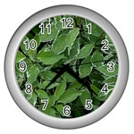 Texture Leaves Light Sun Green Wall Clocks (Silver)  Front