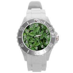 Texture Leaves Light Sun Green Round Plastic Sport Watch (l)