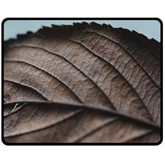 Leaf Veins Nerves Macro Closeup Double Sided Fleece Blanket (medium)  by BangZart