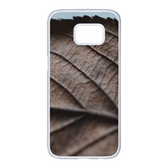 Leaf Veins Nerves Macro Closeup Samsung Galaxy S7 Edge White Seamless Case by BangZart