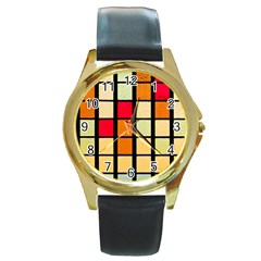 Mozaico Colors Glass Church Color Round Gold Metal Watch by BangZart