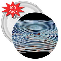 Wave Concentric Waves Circles Water 3  Buttons (100 Pack)  by BangZart