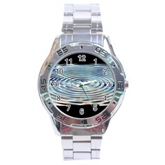 Wave Concentric Waves Circles Water Stainless Steel Analogue Watch by BangZart