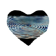 Wave Concentric Waves Circles Water Standard 16  Premium Flano Heart Shape Cushions by BangZart