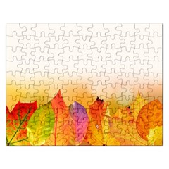 Autumn Leaves Colorful Fall Foliage Rectangular Jigsaw Puzzl by BangZart