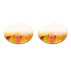 Autumn Leaves Colorful Fall Foliage Cufflinks (oval) by BangZart