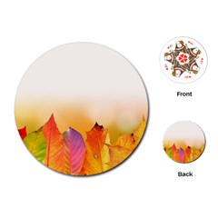 Autumn Leaves Colorful Fall Foliage Playing Cards (round)  by BangZart