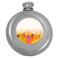 Autumn Leaves Colorful Fall Foliage Round Hip Flask (5 Oz) by BangZart
