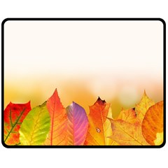 Autumn Leaves Colorful Fall Foliage Double Sided Fleece Blanket (medium)  by BangZart