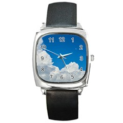 Sky Clouds Blue White Weather Air Square Metal Watch by BangZart