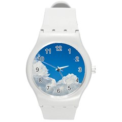 Sky Clouds Blue White Weather Air Round Plastic Sport Watch (m) by BangZart