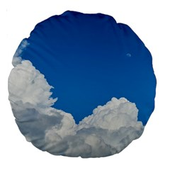 Sky Clouds Blue White Weather Air Large 18  Premium Round Cushions by BangZart