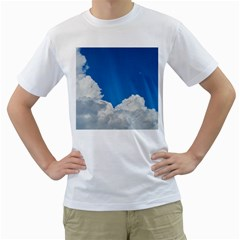 Sky Clouds Blue White Weather Air Men s T Shirt (white)  by BangZart