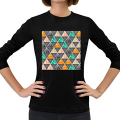 Abstract Geometric Triangle Shape Women s Long Sleeve Dark T-shirts by BangZart