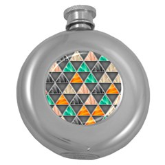 Abstract Geometric Triangle Shape Round Hip Flask (5 Oz) by BangZart