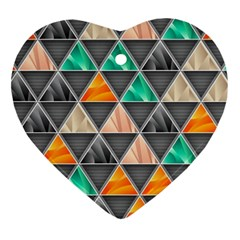 Abstract Geometric Triangle Shape Heart Ornament (two Sides) by BangZart