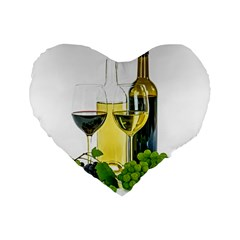White Wine Red Wine The Bottle Standard 16  Premium Flano Heart Shape Cushions by BangZart