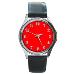 Solid Christmas Red Velvet Round Metal Watch by PodArtist
