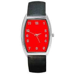 Solid Christmas Red Velvet Barrel Style Metal Watch by PodArtist