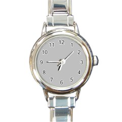 Solid Christmas Silver Round Italian Charm Watch