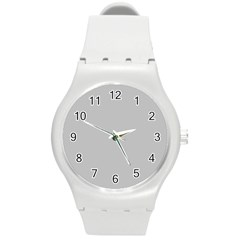 Solid Christmas Silver Round Plastic Sport Watch (m) by PodArtist