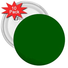 Solid Christmas Green Velvet Classic Colors 3  Buttons (10 Pack)  by PodArtist