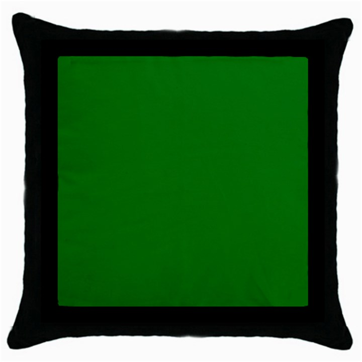 Solid Christmas Green Velvet Classic Colors Throw Pillow Case (Black)