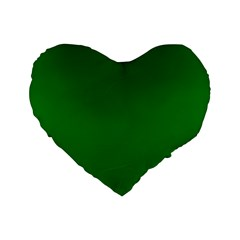 Solid Christmas Green Velvet Classic Colors Standard 16  Premium Heart Shape Cushions by PodArtist