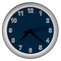 Solid Christmas Silent Night Blue Wall Clocks (silver)  by PodArtist