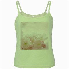 Pink Blossom Bloom Spring Romantic Green Spaghetti Tank