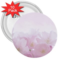 Pink Blossom Bloom Spring Romantic 3  Buttons (10 Pack)  by BangZart