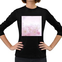 Pink Blossom Bloom Spring Romantic Women s Long Sleeve Dark T Shirts by BangZart