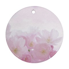 Pink Blossom Bloom Spring Romantic Round Ornament (two Sides) by BangZart