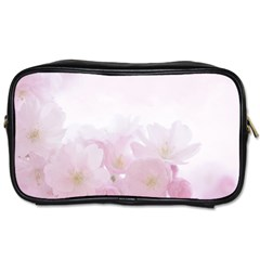 Pink Blossom Bloom Spring Romantic Toiletries Bags 2 Side by BangZart