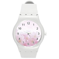 Pink Blossom Bloom Spring Romantic Round Plastic Sport Watch (m) by BangZart