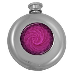 Purple Background Scrapbooking Abstract Round Hip Flask (5 Oz) by BangZart