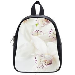 Orchids Flowers White Background School Bags (small)  by BangZart