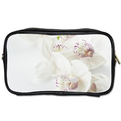 Orchids Flowers White Background Toiletries Bags by BangZart