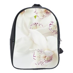 Orchids Flowers White Background School Bags (xl)  by BangZart