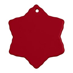 Usa Flag Red Blood Red Classic Solid Color  Snowflake Ornament (two Sides) by PodArtist