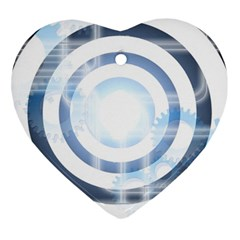 Center Centered Gears Visor Target Heart Ornament (two Sides) by BangZart