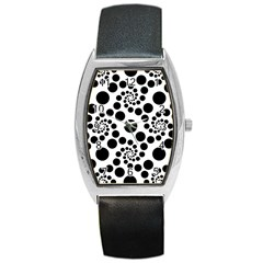Dot Dots Round Black And White Barrel Style Metal Watch by BangZart