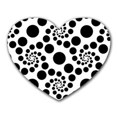 Dot Dots Round Black And White Heart Mousepads by BangZart