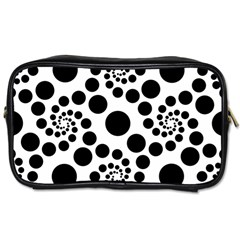 Dot Dots Round Black And White Toiletries Bags by BangZart